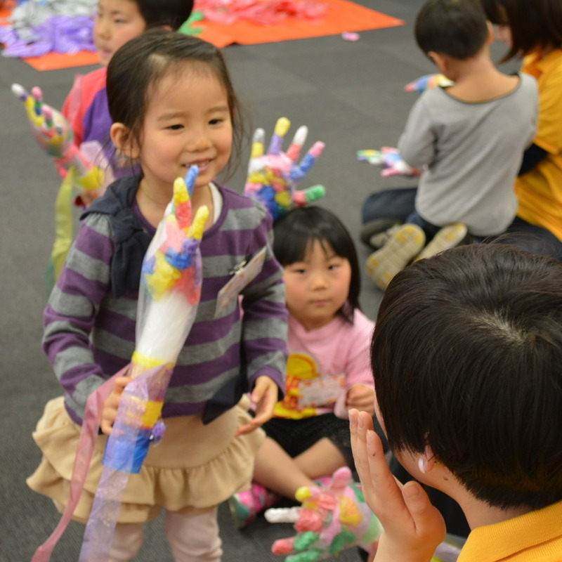2015年4月12日(日)<br>「ニセモノの手であくしゅとバイバイ」(幼児クラス)in明治