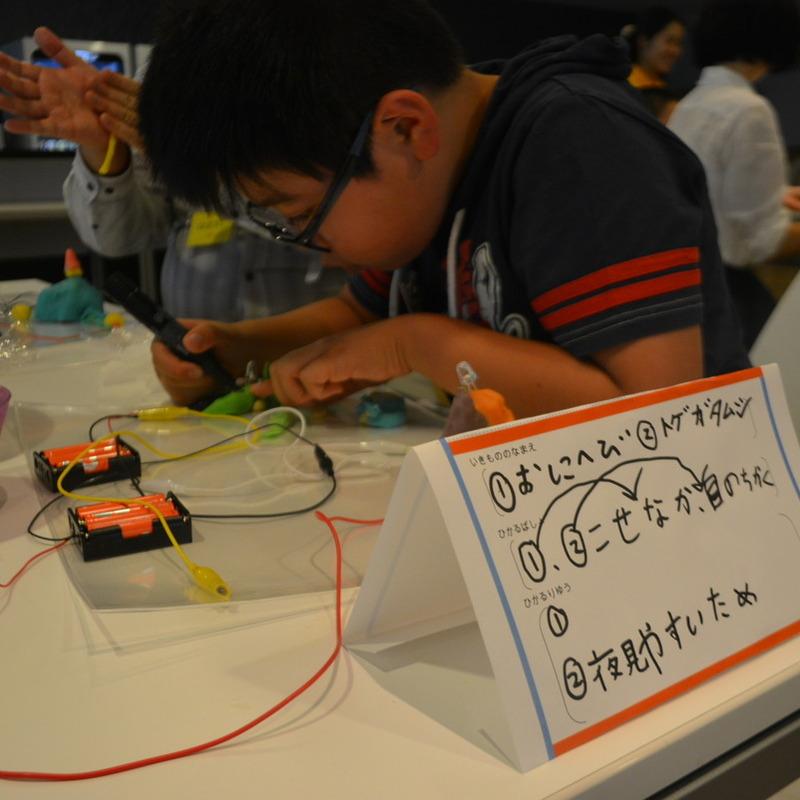 2015年11月1日(日)<br>「ねんどと電子回路で発光いきものづくり」<br>(小学生クラス)in渋谷